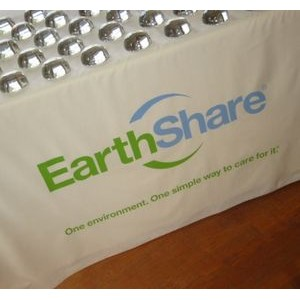 "4' 100% Organically Grown Cotton Table Cover W/ 38"" Silk Screen Logo"