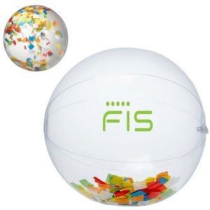 "16"" Multi Color Confetti Filled Round Clear Beach Ball"