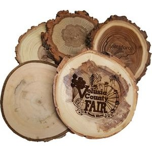 "3.5"" - Assorted Hardwood Species Bark Edged Engraved Coasters - USA-Made"