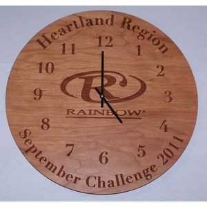 "14"" - Hardwood Clocks - Wall - Laser Engraved - USA-Made"