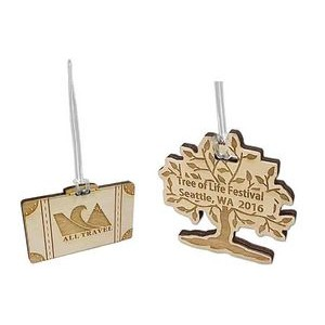 "2"" - Engraved Baltic Birch Promotional Ornaments - USA-Made"