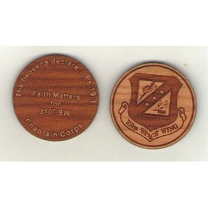 "1.5"" - Hardwood Coins - Laser Engraved - USA-Made"
