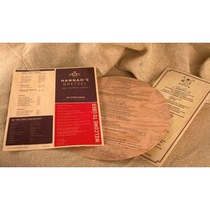 "4.25"" x 11"" - Wood Veneer Menus - 1 Sided Color Print - USA-Made"