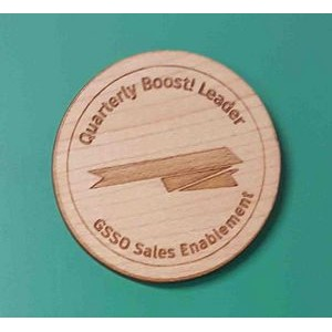 "2"" - Engraved Baltic Birch Promotional Magnets - USA-Made"