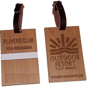 "3"" x 4"" - Hardwood Luggage Tag - Laser Engraved - USA-Made"