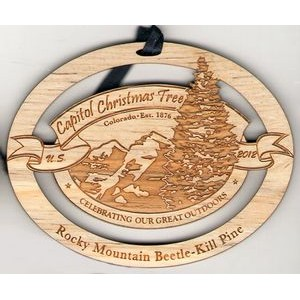 "2"" - Solid Hardwood Ornaments - Laser Engraved - Customized Shapes - USA-Made"