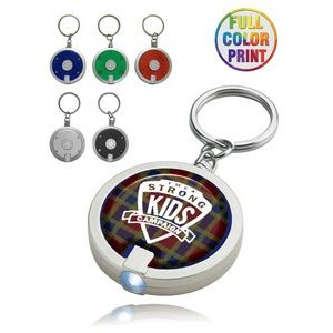 Round LED Light with Key Ring - Full Color Print