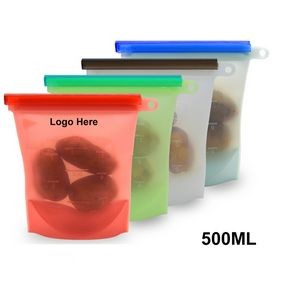 Reusable Silicone Fresh Food Storage Bag w/ One Color Logo