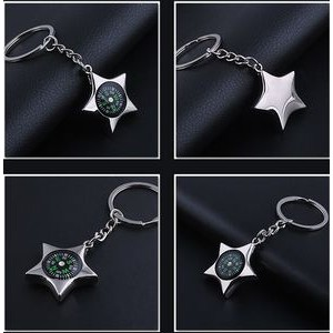 Star Shaped Compass Key Chain