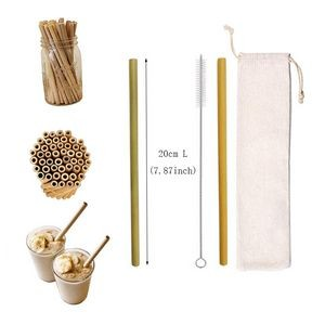 Reusable Bamboo Drinking Straw W/ Carrying Pouch