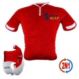 Golf Polo 2N1, A Convertible Plush Shirt & Neck Pillow
