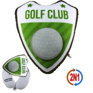 Golf Ball Mascot 2N1, A Convertible Plush Ball & Neck Pillow