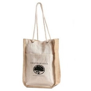 Jute - Canvas / Burlap Everyday Fashion Tote with Cotton Rope Handles