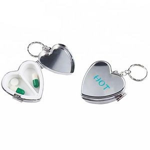 Promotional 2 Cases Medical Heart Shape Metal Pill Box