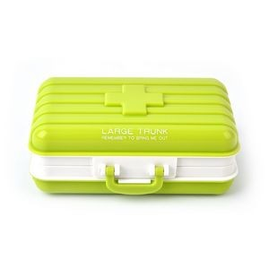 Plastic Mini Rotatable Suitcase Pill Storage Box