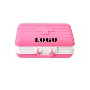 6 Compartments Travel Luggage Shape Pill Box