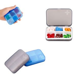 6 Compartments Cross Pill Case Tablet Box