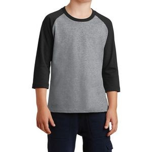 Port & Company® Youth Core Blend 3/4-Sleeve Raglan Tee