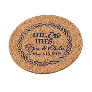 "4"" Diameter Round Screen Printed Cork Coaster"