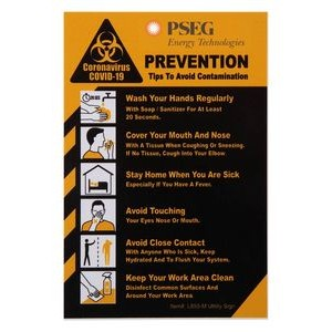 "COVID-19 Coronavirus Prevention Custom Utility Sign 4""x 6"" 60 Hard 60 Mil Styrene Card"