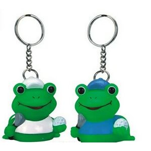 Rubber Golfer Frog Key Chain