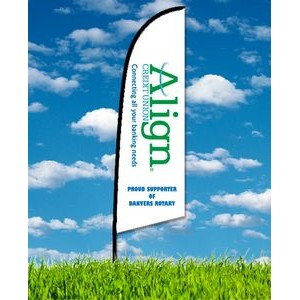Zoom 2 Straight Flag w/ Stand - 8ft Single Sided Graphic