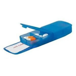 Pill Box - Four Compartment w/ Band Aid Tray Translucent Blue