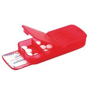 Pill Box - Four Compartment w/ Band Aid Tray Translucent Red