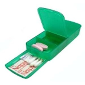 Pill Box - Four Compartment w/ Band Aid Tray Translucent Green