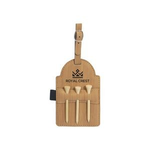 "3 1/4"" x 5"" Bamboo Leatherette Golf Bag Tag w/ 3 Wooden Tees"