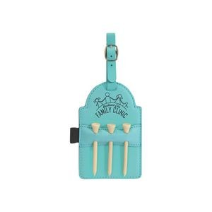 "3 1/4"" x 5"" Teal Leatherette Golf Bag Tag w/ 3 Wooden Tees"
