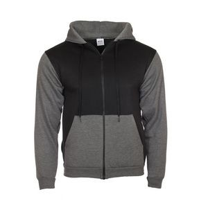 Contrast Color Hooded Zipper Sweatshirt